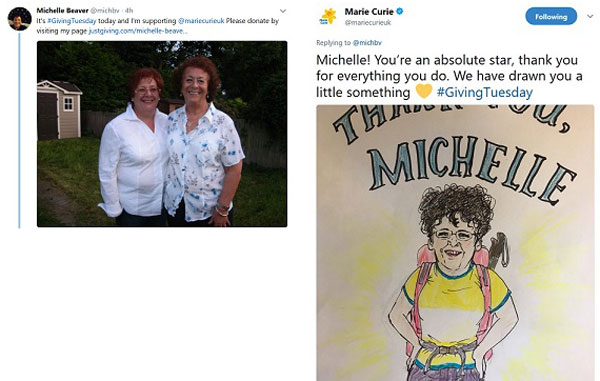 Marie Curie's hand drawn thanks for supporter Michelle