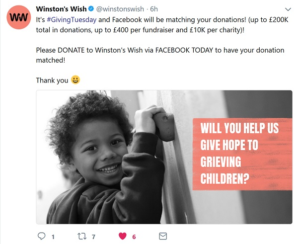 Winston's Wish FB ask