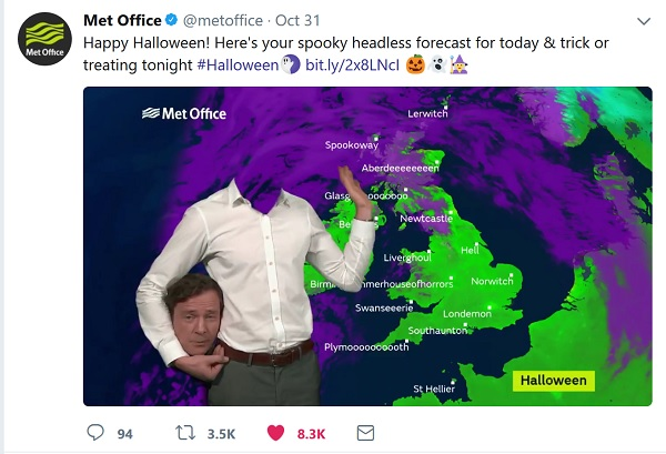 Headless weather presenter gives the forecast for Halloween