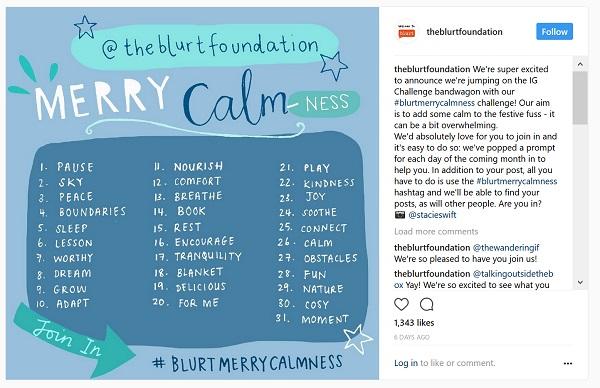 Blurt's 30 day challenge to bring calmness to the festive period