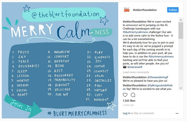 Blurt's 30 day challenge to bring calmness to the festive period