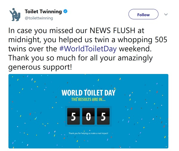 Tweet: image says news Flush with counter showing that 505 toilets have been twinned!