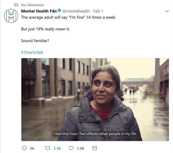 Tweet showing the mental health foundation video - vox pops on Millennium Bridge in the rain