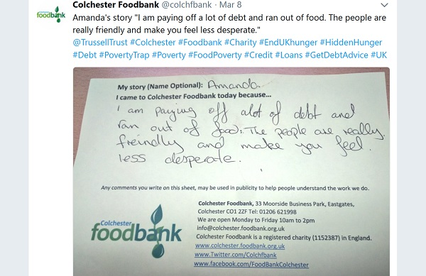 Handwritten note of thanks to Colchester Foodbank