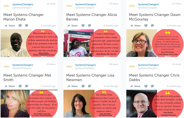 Screenshot of storify's of the people who have done friday takeovers for Lankelly Chase