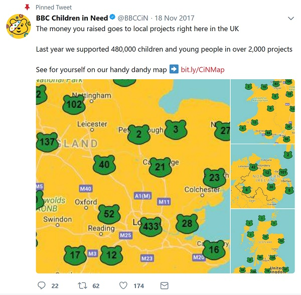 Children in Need map using Pudsey shaped pins on a map of the UK showing the location of projects