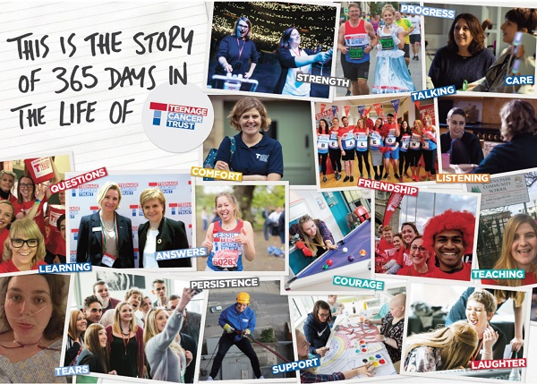 Cover of the Teenage Cancer Trust report - 365 days in the life of the organisation