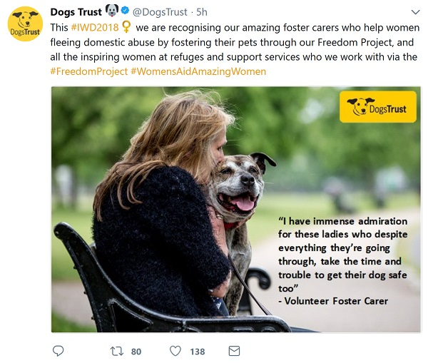 Tweet from Dog's Trust thanking foster carers who look after dog's of women fleeing domestic violence