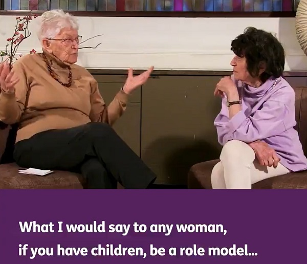Still from age uk - 'what I would say to any woman, if you have children, be a role model'