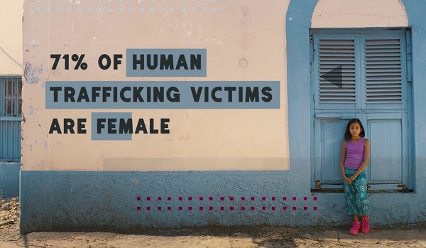 Still from Freedom for girls video - text on wall says 71% of human trafficing victims are female