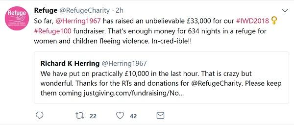 Tweets between Refuge and Richard Herring announcing fundraising totals