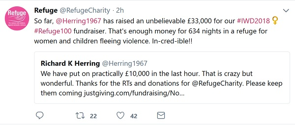 Tweets between Refuge and Richard Herring announcing fundraising totals