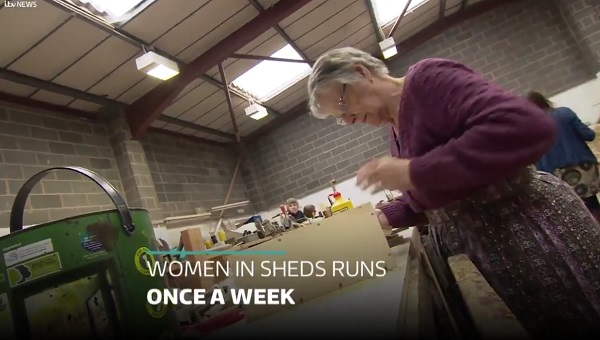 Still from ITV video of Women in Sheds project
