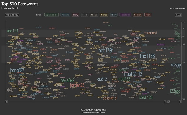 infographic of the 500 most popular passwords