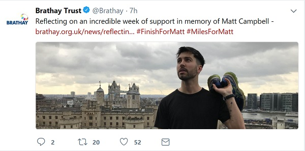 Brathay Trust - statement via Twitter reflecting on the week following Matt's death