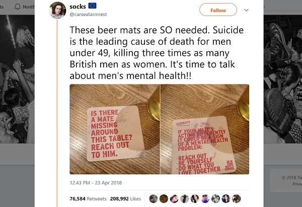 Tweet showing images of Time to Change beer mats