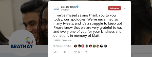 Brathay tweet - if we have missed saying thank you to you, our apologies. We've never had so many tweets. Please know we are grateful to each and every one of you