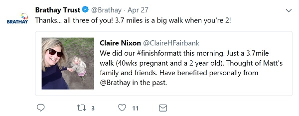 Tweet thanking supporter for walking the 3.7 for Matt