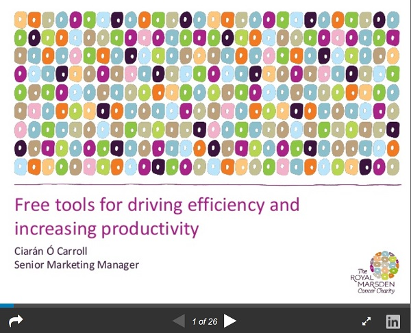 screenshot of one of the slides from the charity comms seminar.