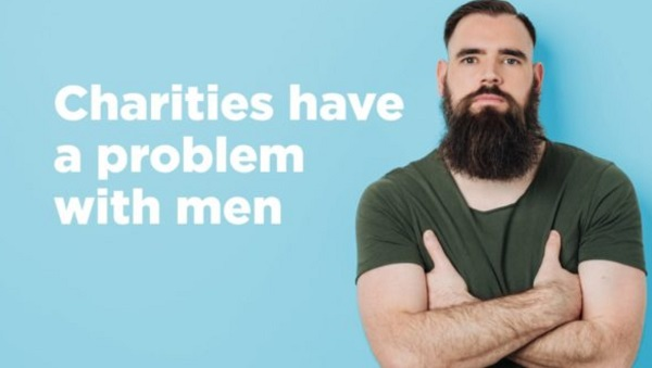 Graphic from UK Fundraising - charities have a problem with men