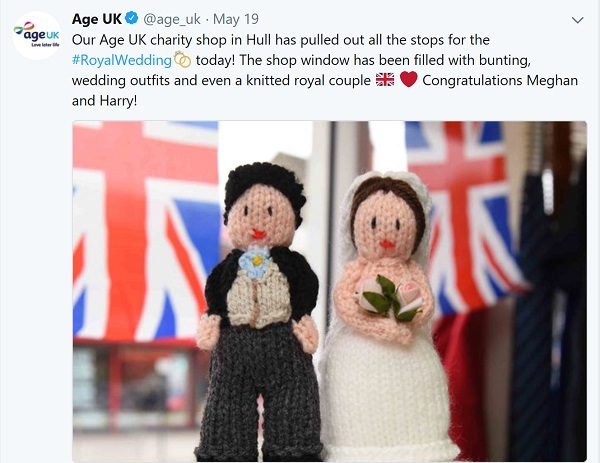 Age UK tweet showing a knitted Harry and Meghan.