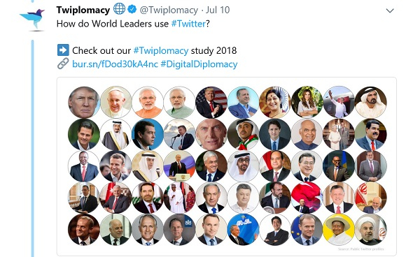 50 world leaders shown in individual circles, illustrating Twiplomacy's tweet