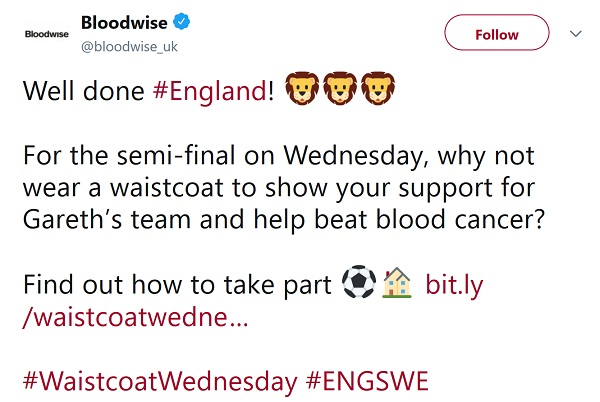 Bloodwise's call to celebrate WaistcoatWednesday to help beat blood cancer