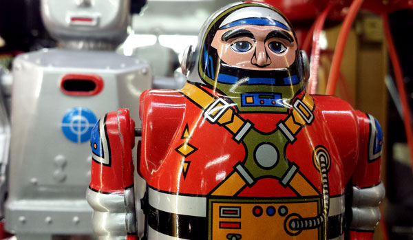 close up of 50s metal toy robot