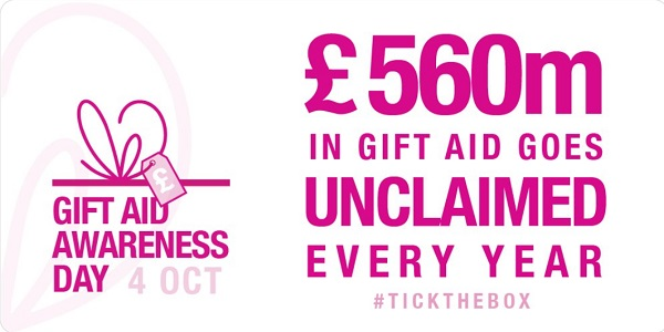 graphic for Gift Aid awareness day - £560m in gift aid is unclaimed every year