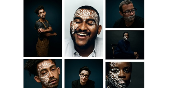 Gallery of faces with white writing painted on them sharing insights into their mental health