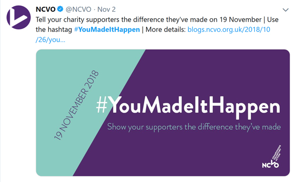 NCVO's tweet promoting the hashtag