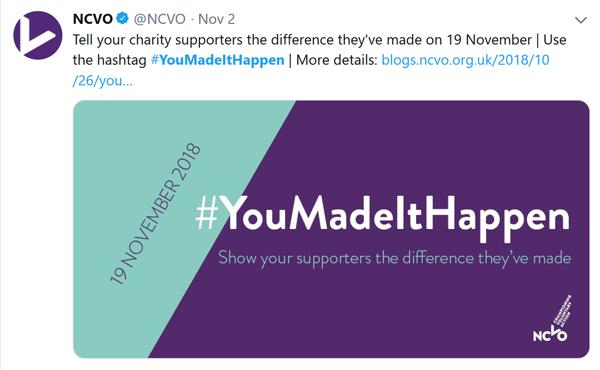 NCVO's tweet promoting the hashtag