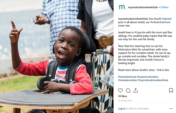 screenshot of instagram calendar from Motivation showing young boy smiling in his wheelchair