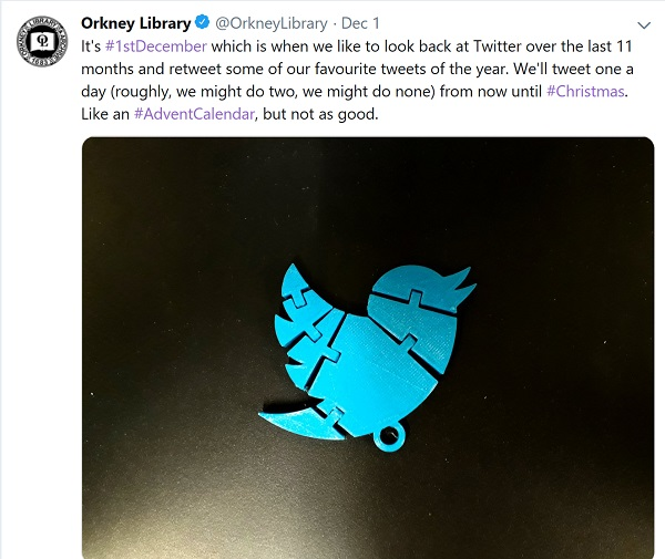 Orkeny Library tweet launching their calendar - 'we might do one or none'