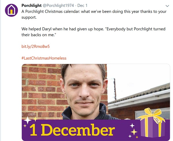 "Tweet sharing Daryl's story: ""A Porchlight Christmas calendar: what we've been doing this year thanks to your support. We helped Daryl when he had given up hope. ""Everybody but Porchlight turned their backs on me."""""