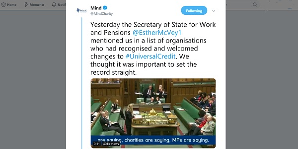 Mind tweet showing video of Erther McVey arguing for Universal Credit in the House of Commons.