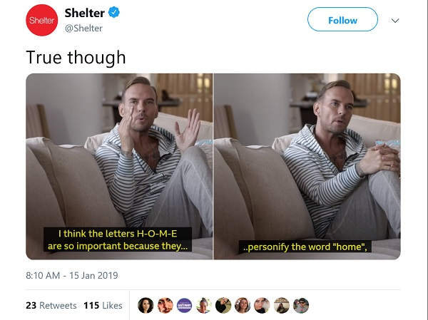 Shelter's tweet showing a still from the Bros doc. Matt Goss says: i think the words H-O-M-E are so important, because they personlify the words home'. Shelter tweeted ' true though'