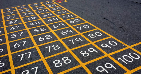 number grid in a playground - close up of 10, 20, 30 etc