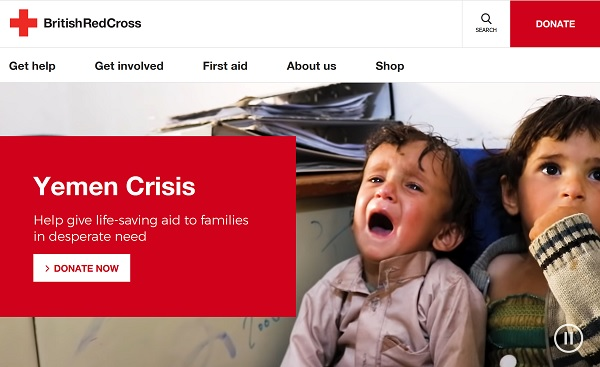 Red Cross homepage in 2019. 10s full-screen video