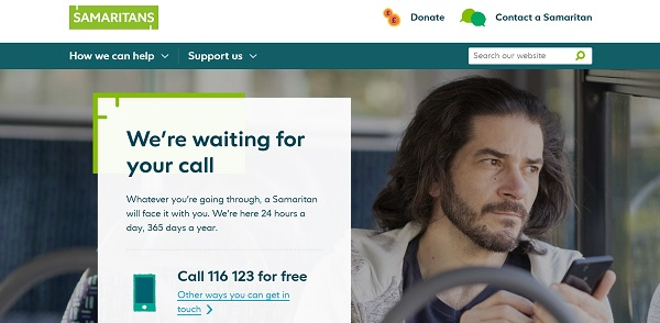 Samaritans - screenshot of new homepage