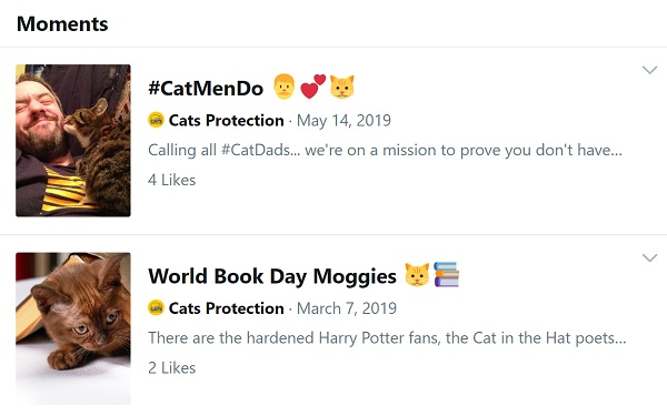 Screenshot of 2 Cats Protection Moments with a small number of Likes