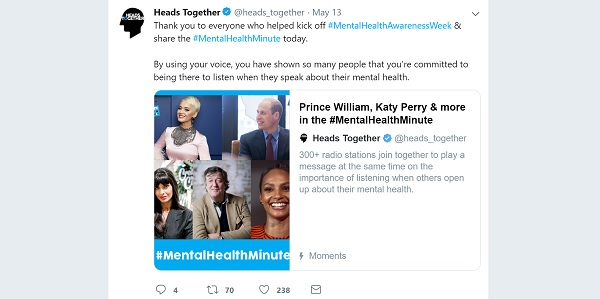 Tweet promoting Heads Together's Moment of the #MentalHealthMinute for Mental Health Awareness Week