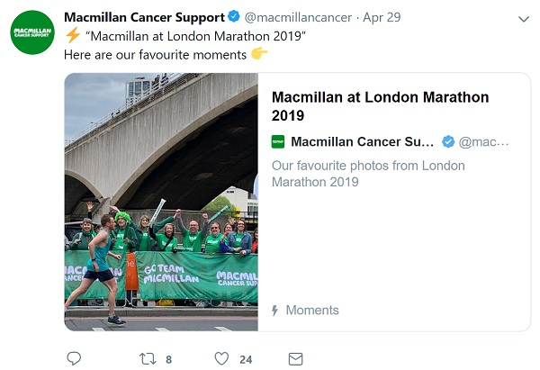 screenshot of Macmillan Cancer's tweet sharing their Moment of the London Marathon