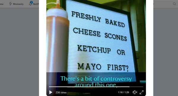 screenshot from National Trust video - 'freshly baked cheese scones. Ketchup or Mayo first?'
