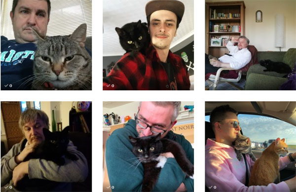 six photos of men with their cats (including one of cats in a car)