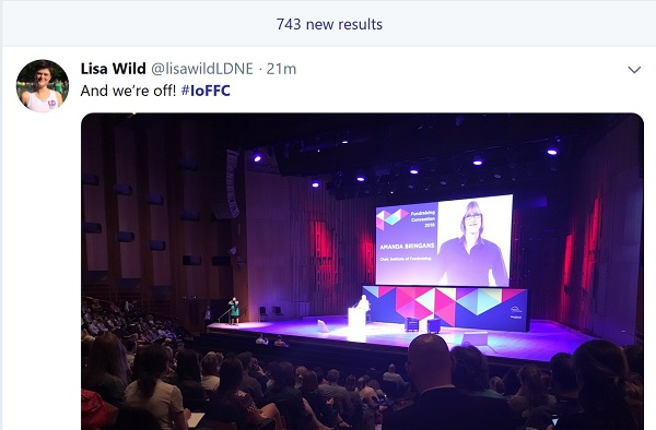 Screenshot of tweets using #IoFFC. There are 743 new tweets sent since the conference started.