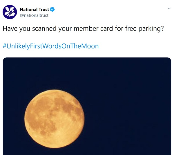 National Trust tweet - says 'Have you scanned your member card for free parking?'