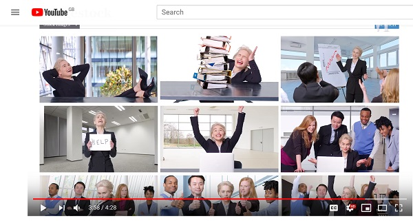 screenshot from video - shows Game of Thrones star Emilia Clarke posing in awful stock photos from the workplace