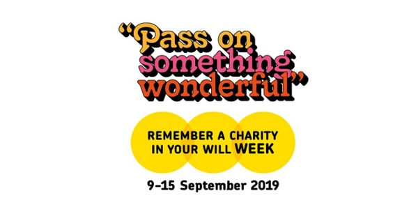 Logo for Remember a Charity Week 2019. 'Pass on something wonderful'. 9-15 Sept