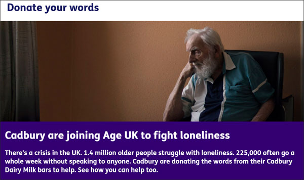 Screenshot from Age UK's website. Older man sits alone. White writing on a purple (cadbury coloured) background say Cadbury are joining Age UK to fight loneliness